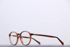 lunettes de vue lunor couleur cognac forme pantos